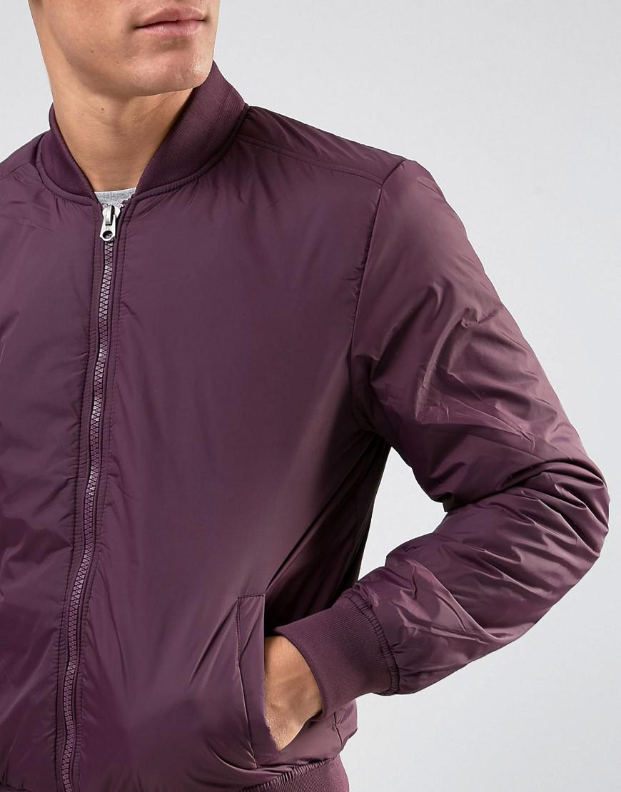 French Connection Synthetic Padded Nylon Bomber Jacket in Red for Men