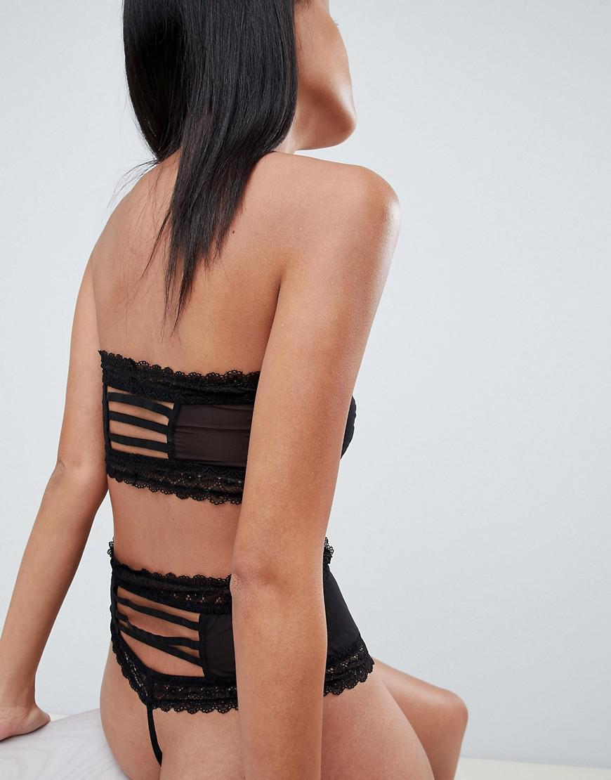 007ef1a649 Lyst - ASOS Kat Padded Lace   Mesh Bandeau Bra in Black