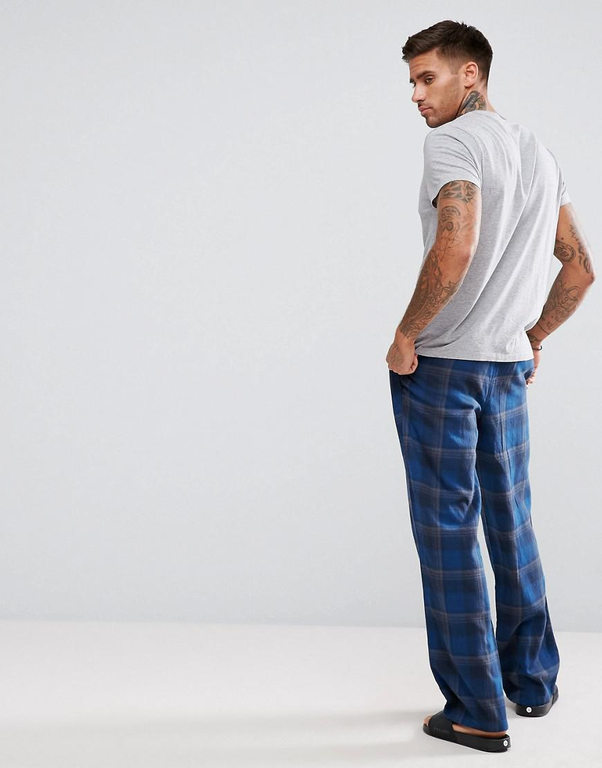 Tokyo Laundry Cotton Pajama Check Pants in Blue for Men