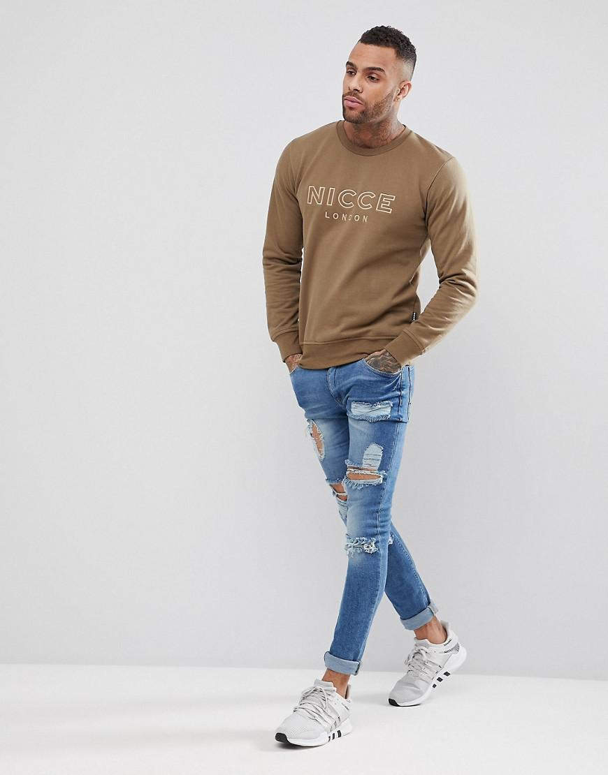 Nicce London Cotton Nicce Sweatshirt With Signature Logo in Green for Men