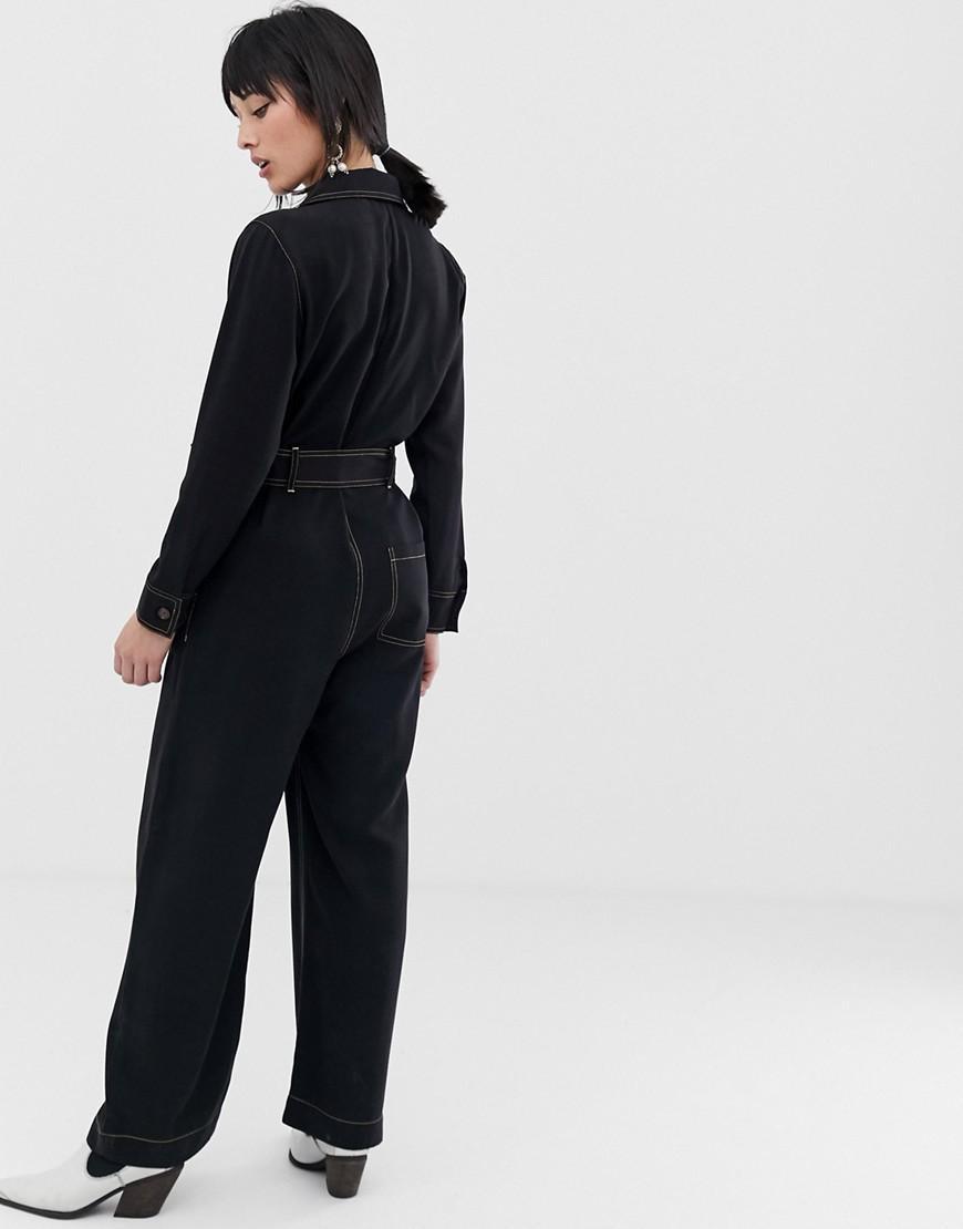 e39dec4d5f1 Lyst - Mango Contrast Stitch Jumpsuit In Black in Black
