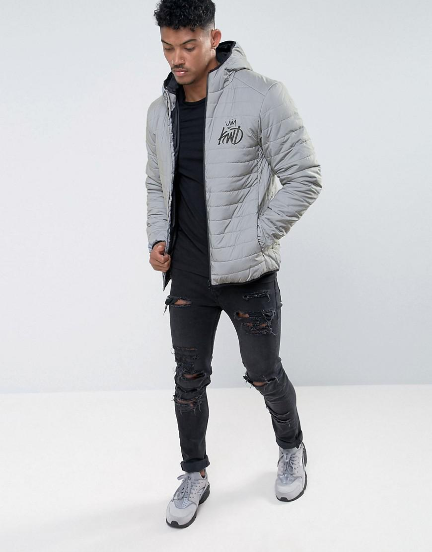 4dc4a3c6cb431 Kings Will Dream Puffer Jacket In Reflective Gray With Logo in Gray ...