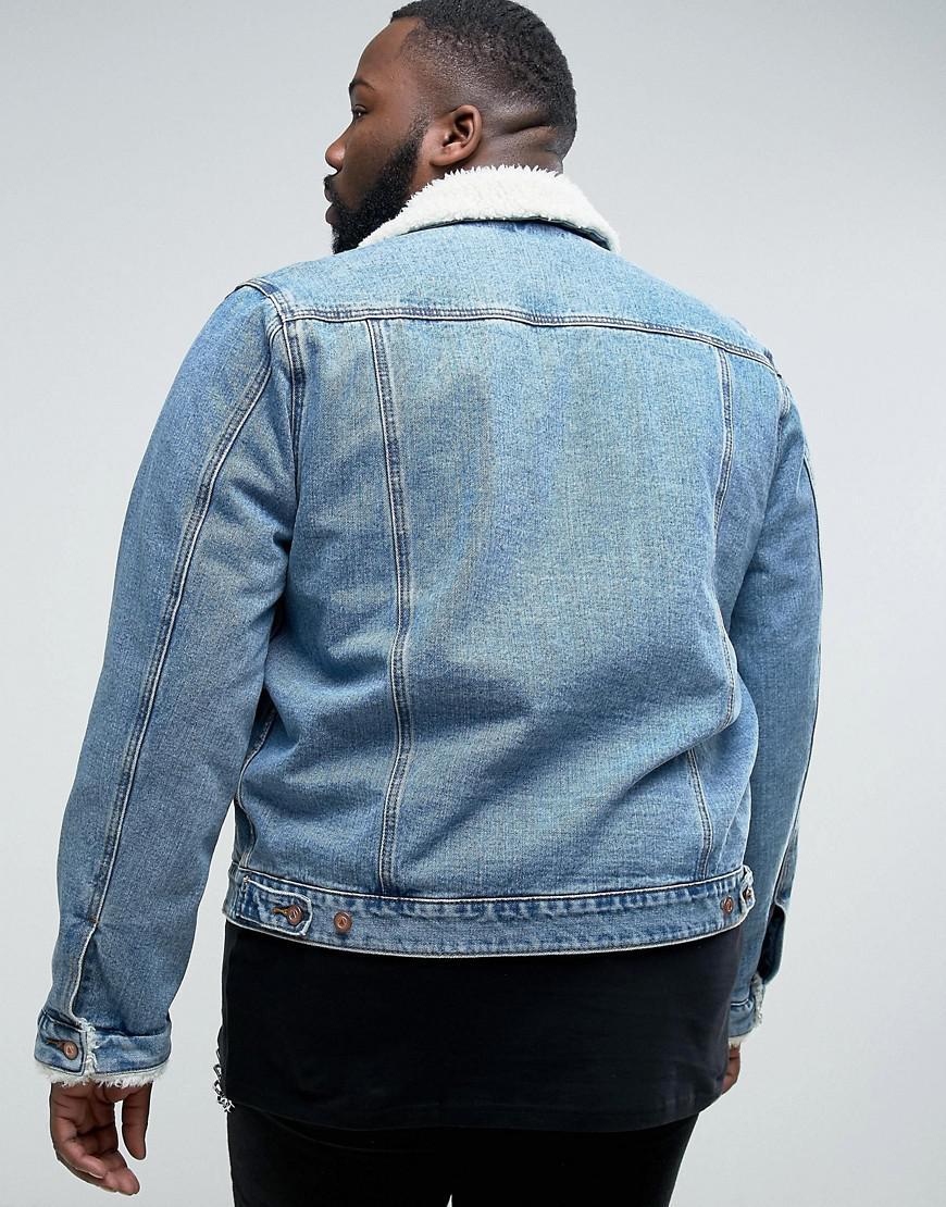 ASOS Plus Denim Jacket With Fleece Collar In Blue Wash for Men
