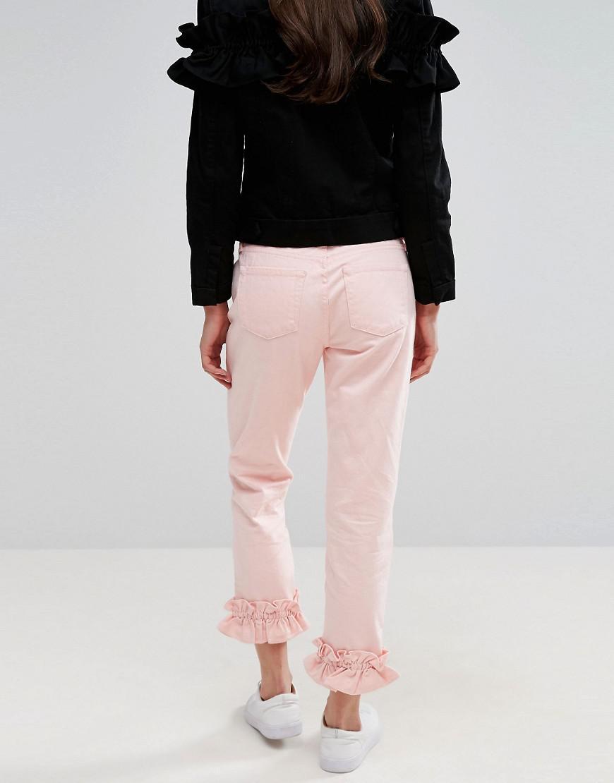 J Brand Denim X Simone Rocha Ruffle Crop Boyfriend Jeans in Pink