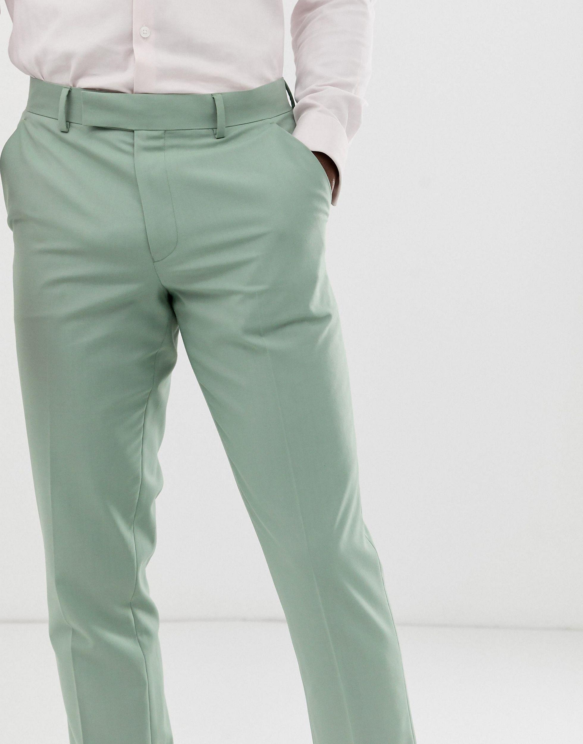 ASOS Synthetisch Bruiloft - Smalle Pantalon in het Groen voor heren