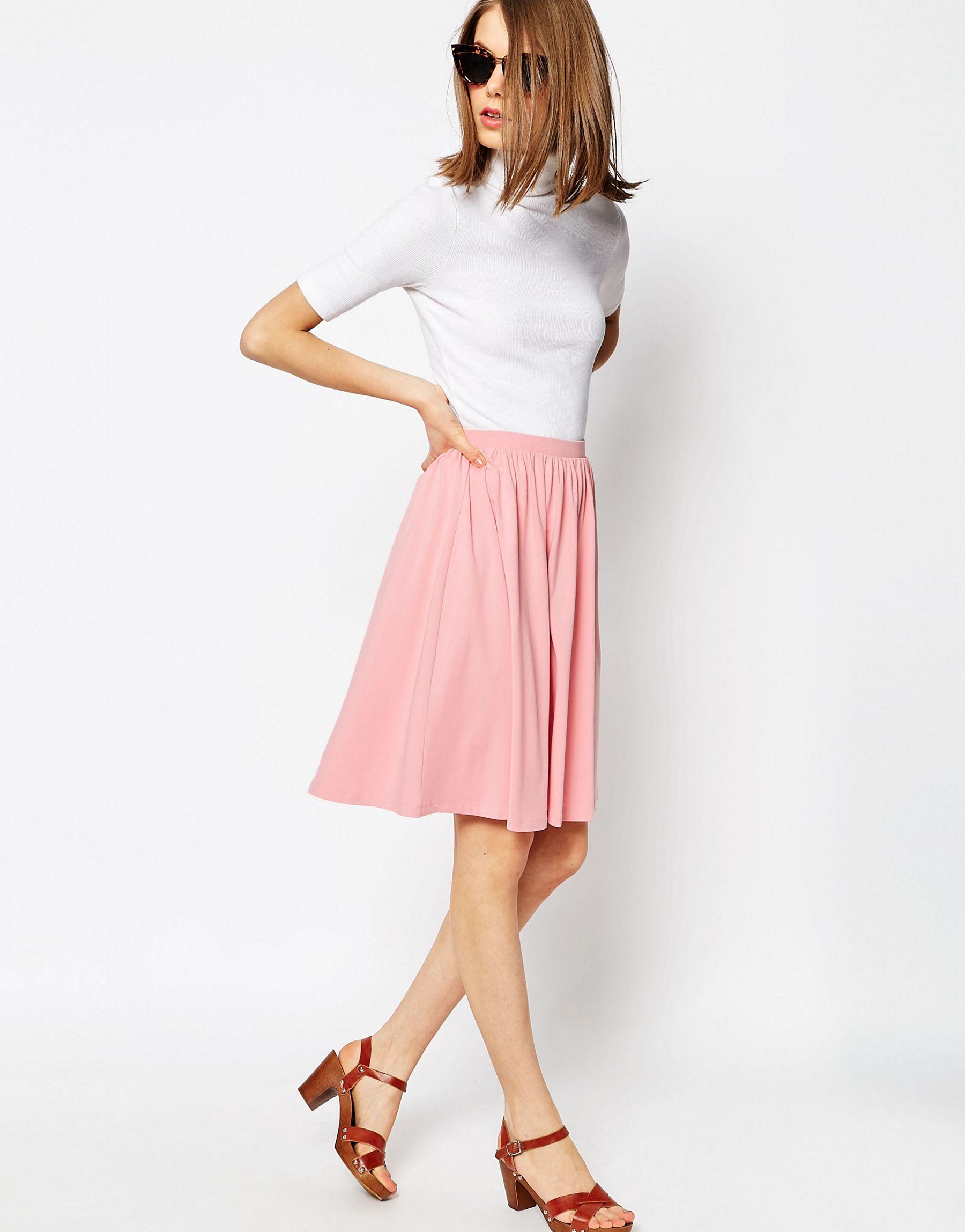 asos midi skater skirt in jersey in pink lyst