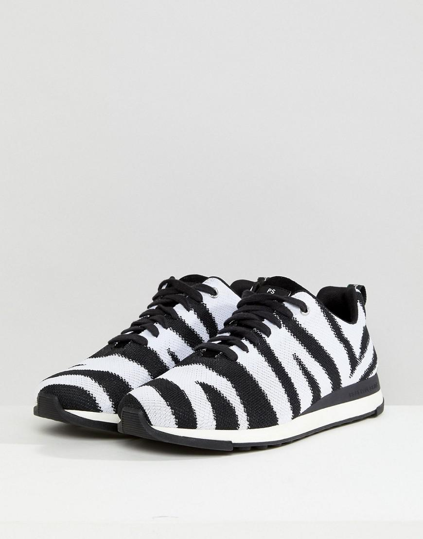 PS by Paul Smith Cotton Rappid Knitted Zebra Trainer In Black/white for Men