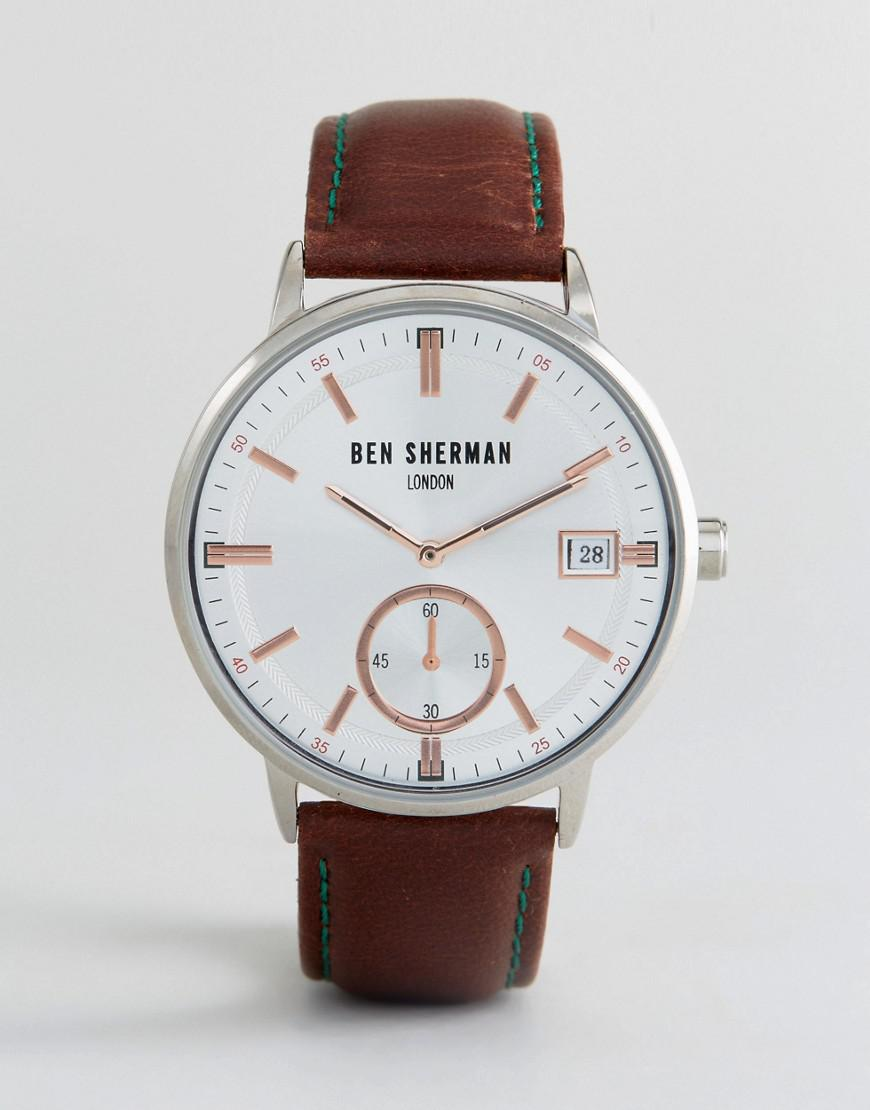 aba322373 Ben Sherman Wb071sbr Watch In Brown Leather in Brown for Men - Lyst