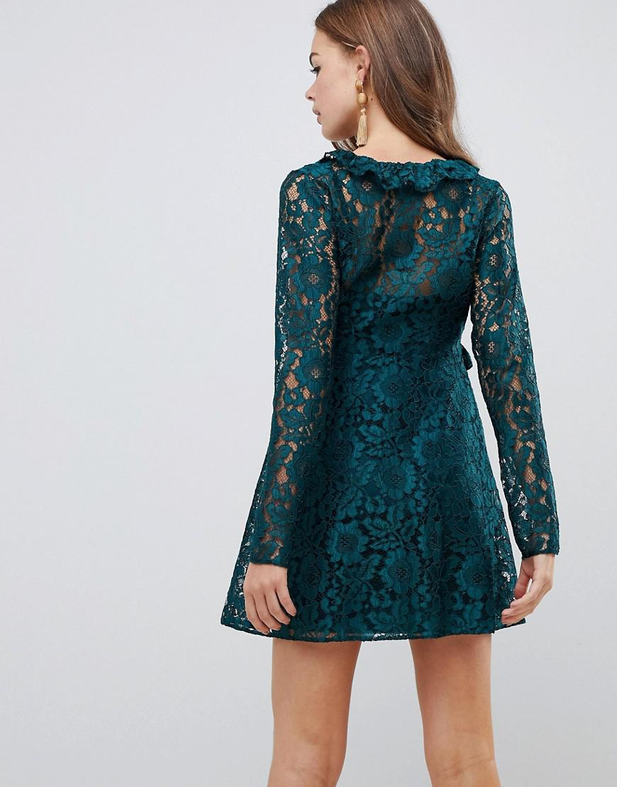 c70d1cd38486 ASOS Lace V Neck Mini Smock Dress With Long Sleeves in Green - Lyst
