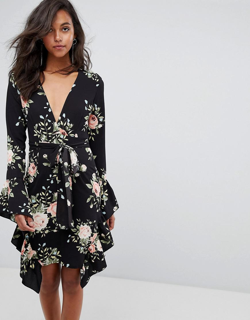 Lyst Prettylittlething Floral Frill Detail Wrap Dress In