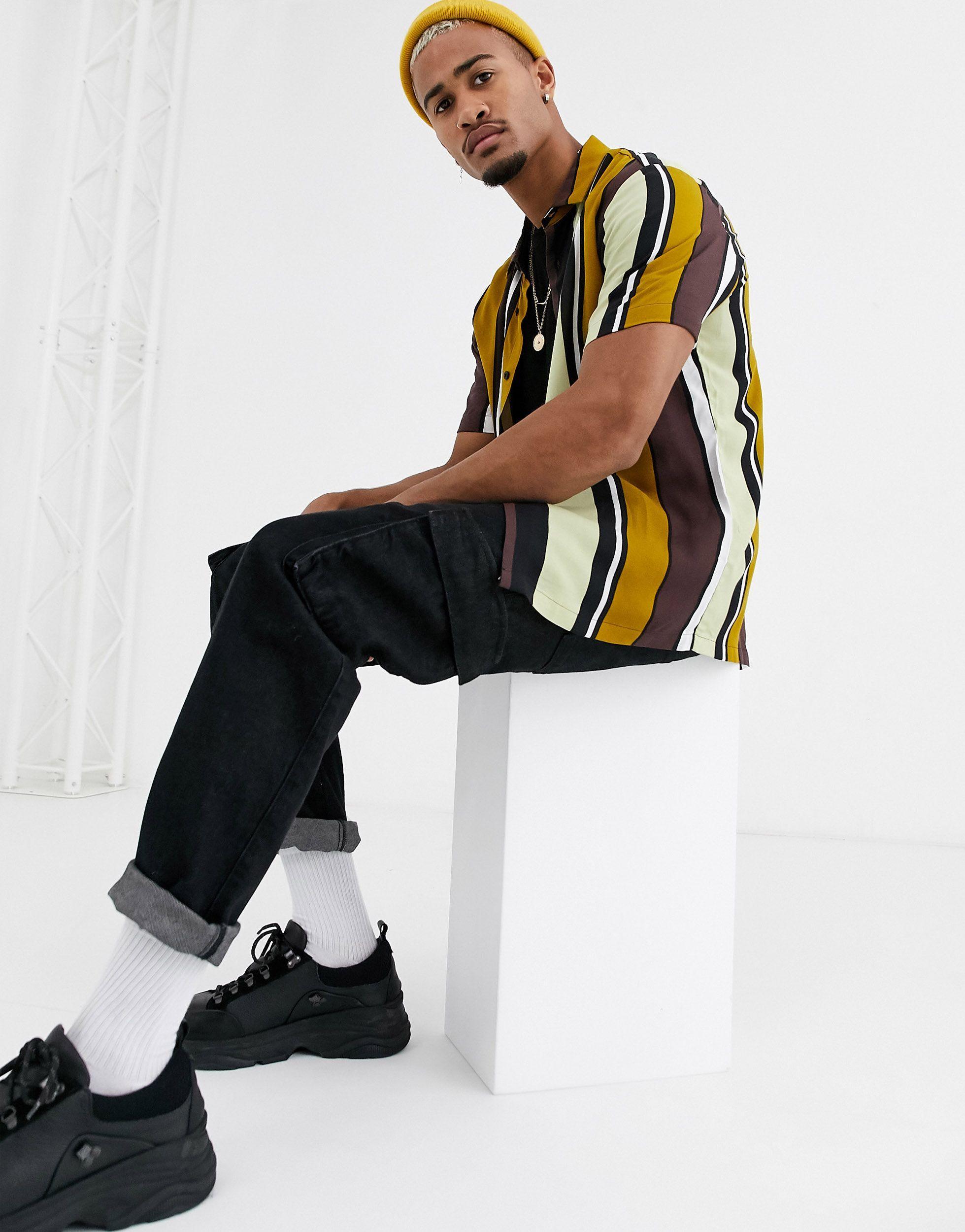 ASOS Synthetisch Ruimvallend Overhemd in het Bruin voor heren