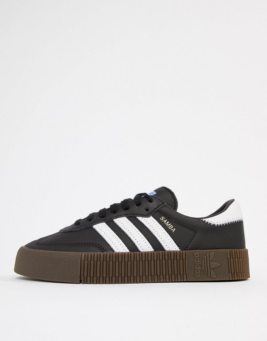 price reduced outlet online united kingdom adidas Originals Black And White Gum Sole Samba Rose Trainers ...