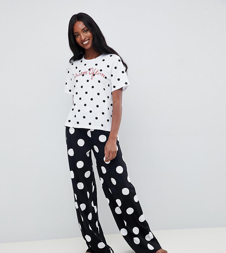 ASOS. Women s Black Asos Design Petite Dream Often Embroidered Polka Dot  Wide Leg Pyjama Set a0a644bfc