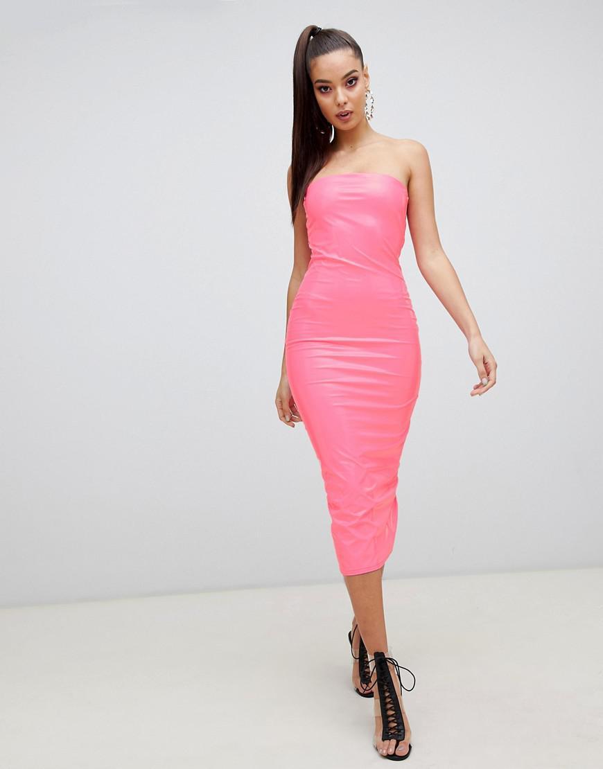 30fdf0474a Lyst - ASOS Pu Bandeau Bodycon Midi Dress in Pink