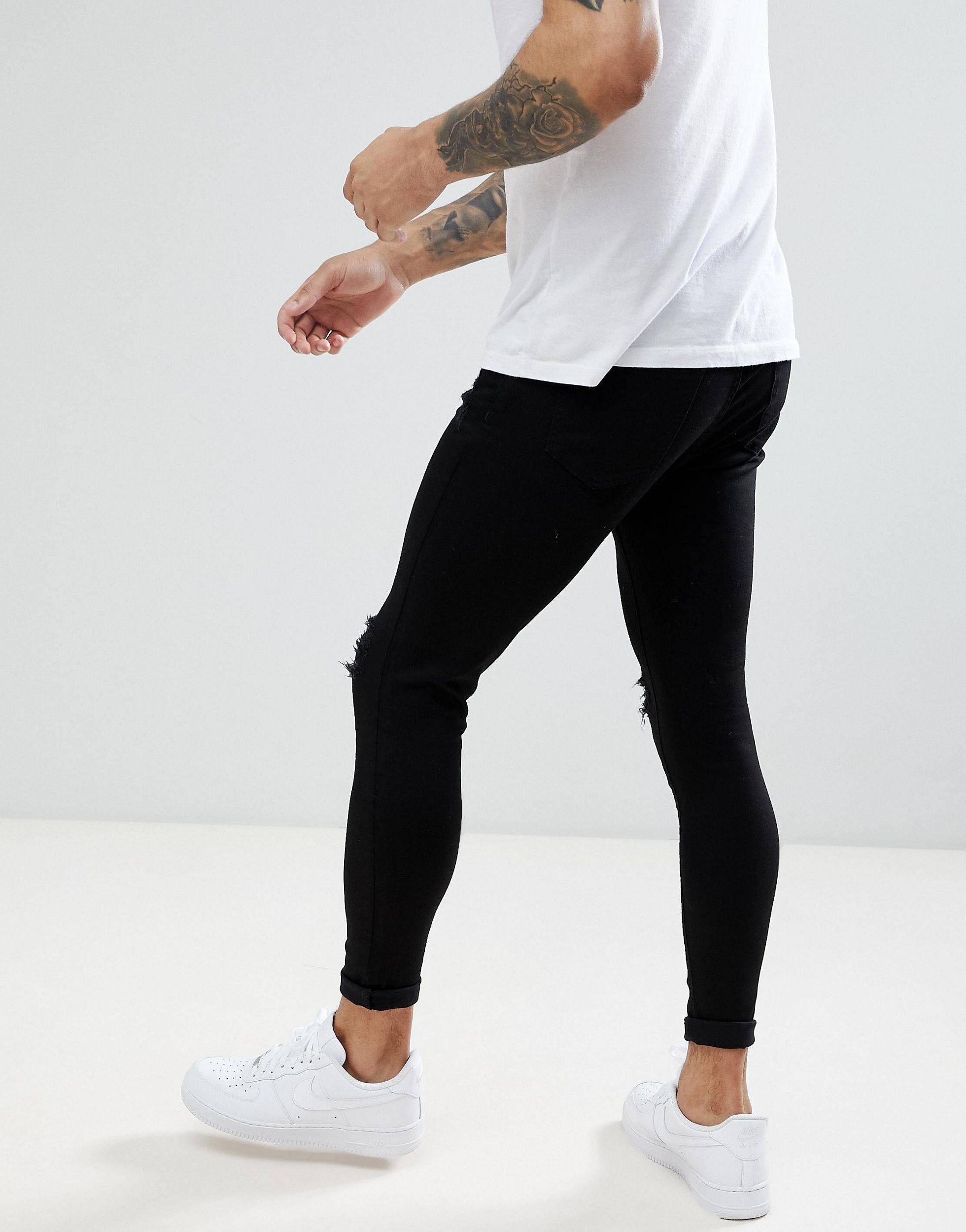 Aces Couture Denim Skinny Jeans With Distressing In Black for Men