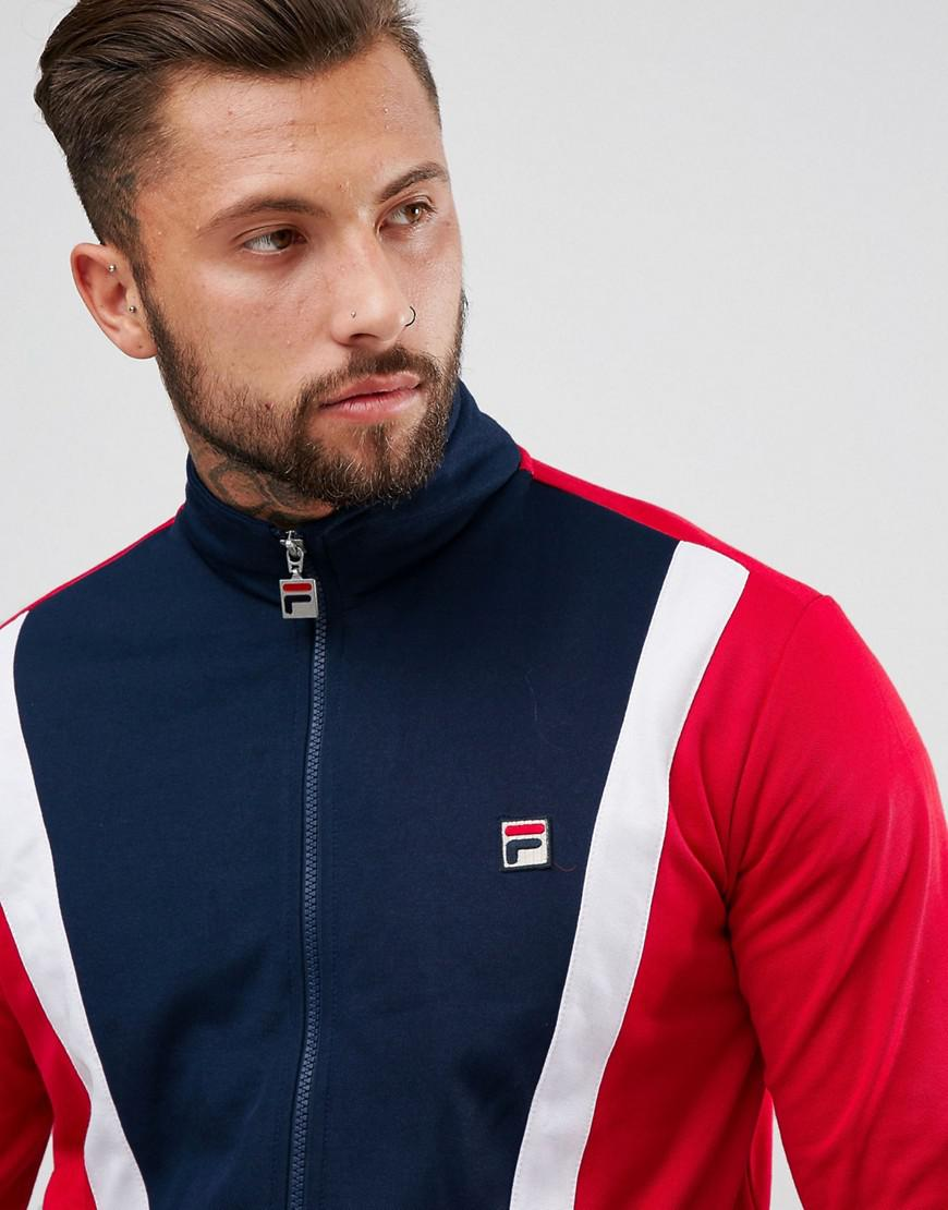 Fila Cotton Track Jacket With Front Panel in Navy (Blue) for Men
