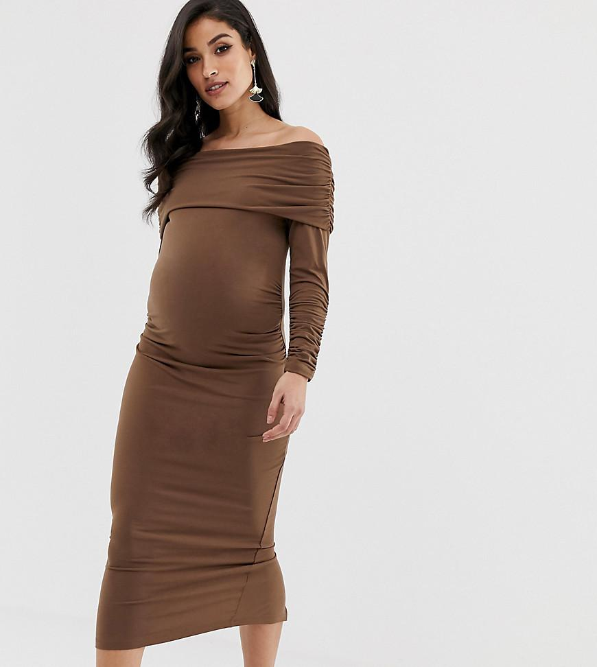 43910f7e6cf40 ASOS Asos Design Maternity Slinky Ruched Midi Dress in Brown - Lyst