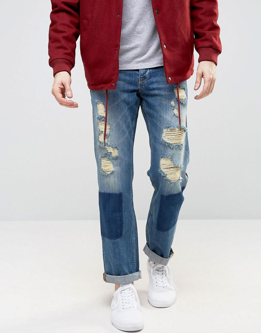 ASOS Denim Straight Jeans With Shadow Patching And Mega Rips In Mid Wash in Blue for Men