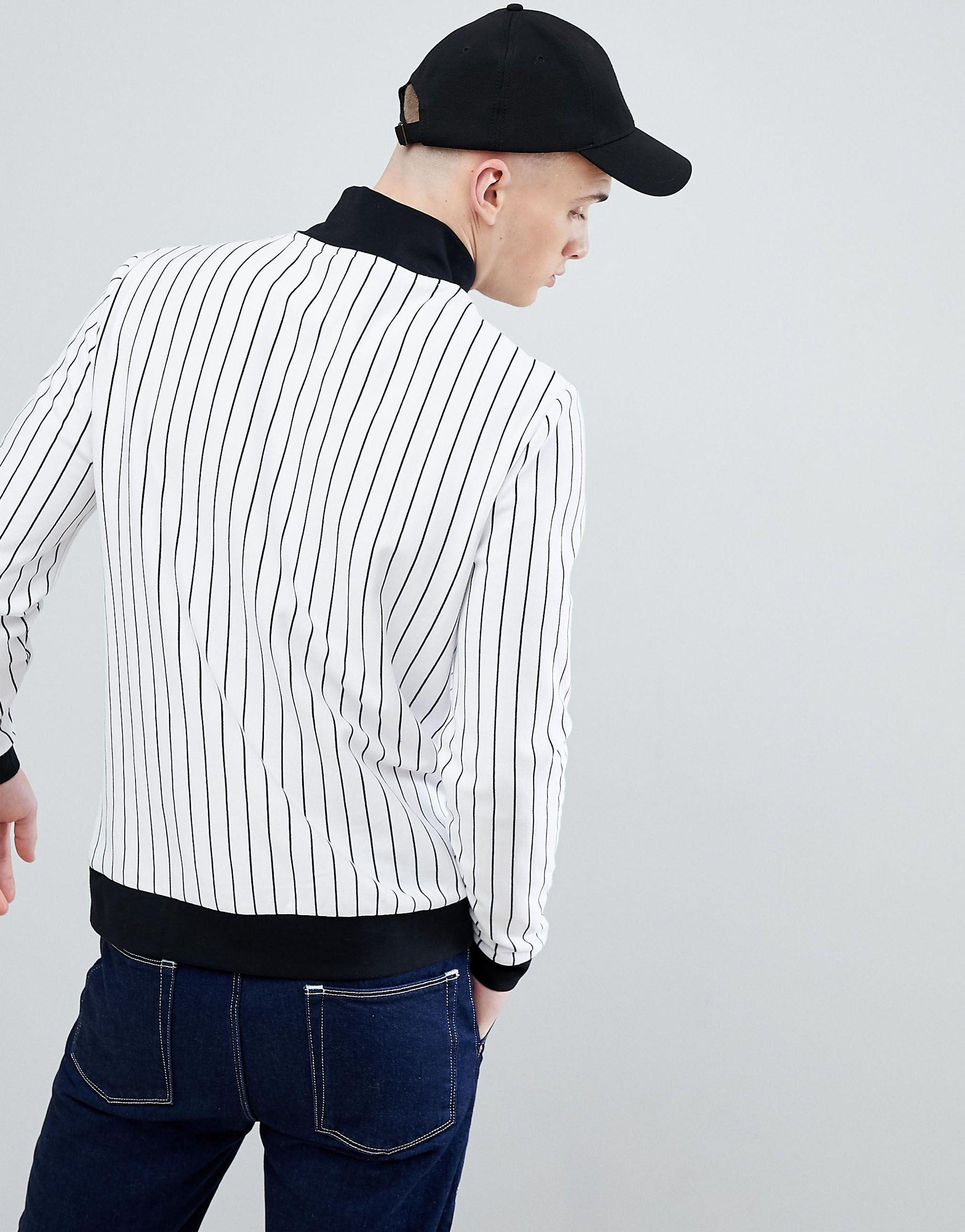 ASOS Jersey Track Jacket With Stripe & Chest Print in White for Men