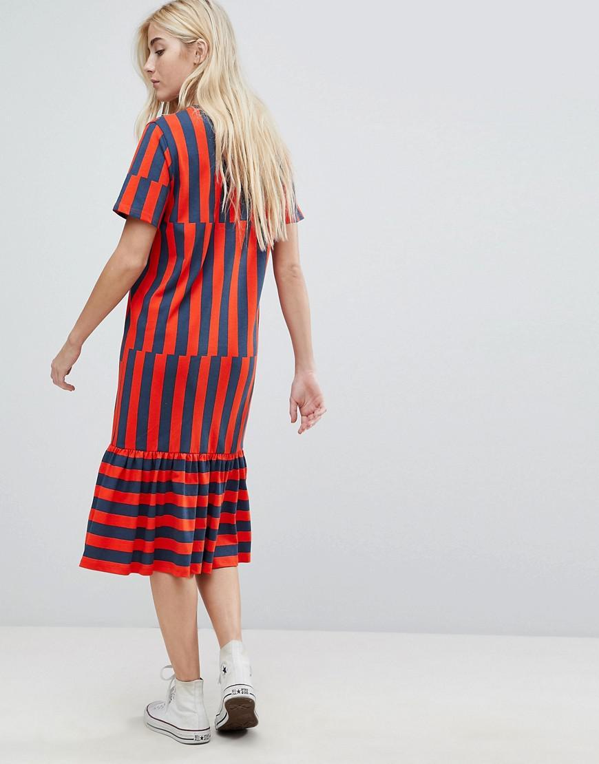 0149cb109b Lyst - ASOS Asos Midi Block Stripe T-shirt Dress in Red