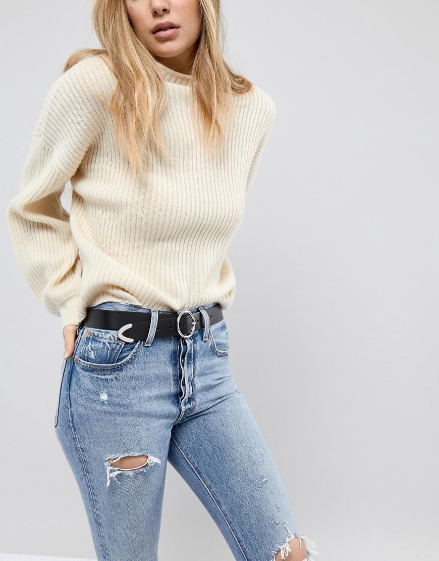 ASOS. Ceinture en cuir pour jean avec boucle circulaire et extrmit renforce  femme de coloris noir 7e063fc4b11