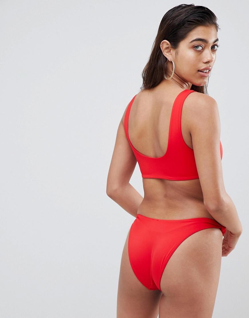 89cf53168 Haut de bikini court minimaliste en tissu recyclé avec nœud - Rouge ASOS en  coloris Red