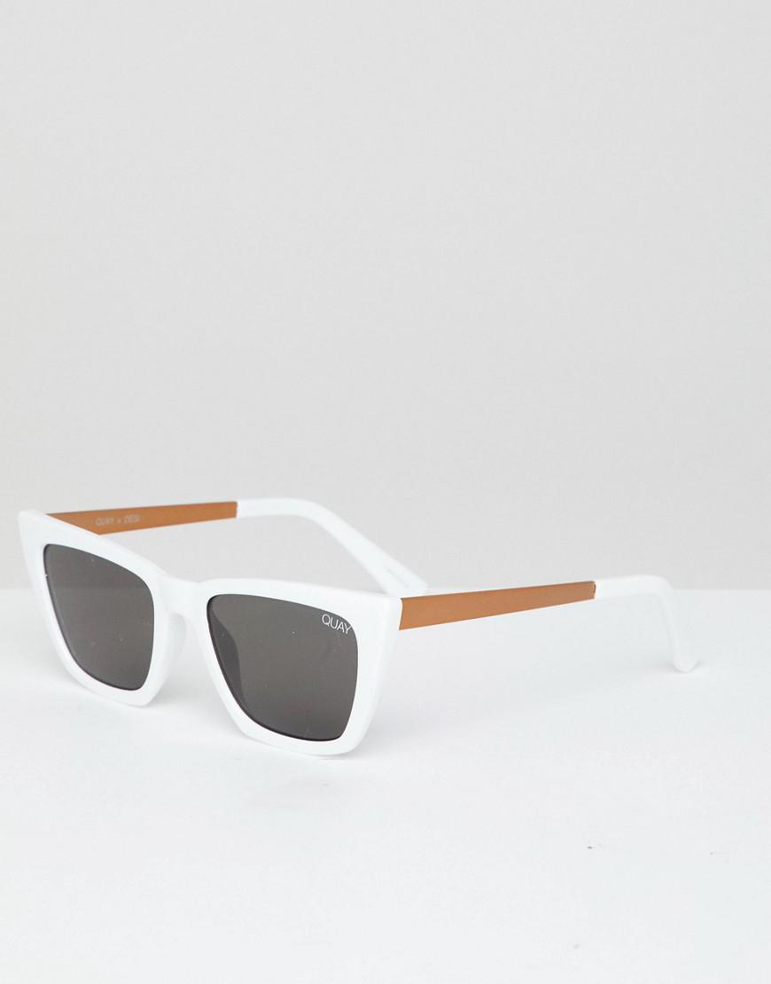 a1af7c4c7f Lyst - Quay X Desi Don t At Me Sunglasses In White Smoke in White ...