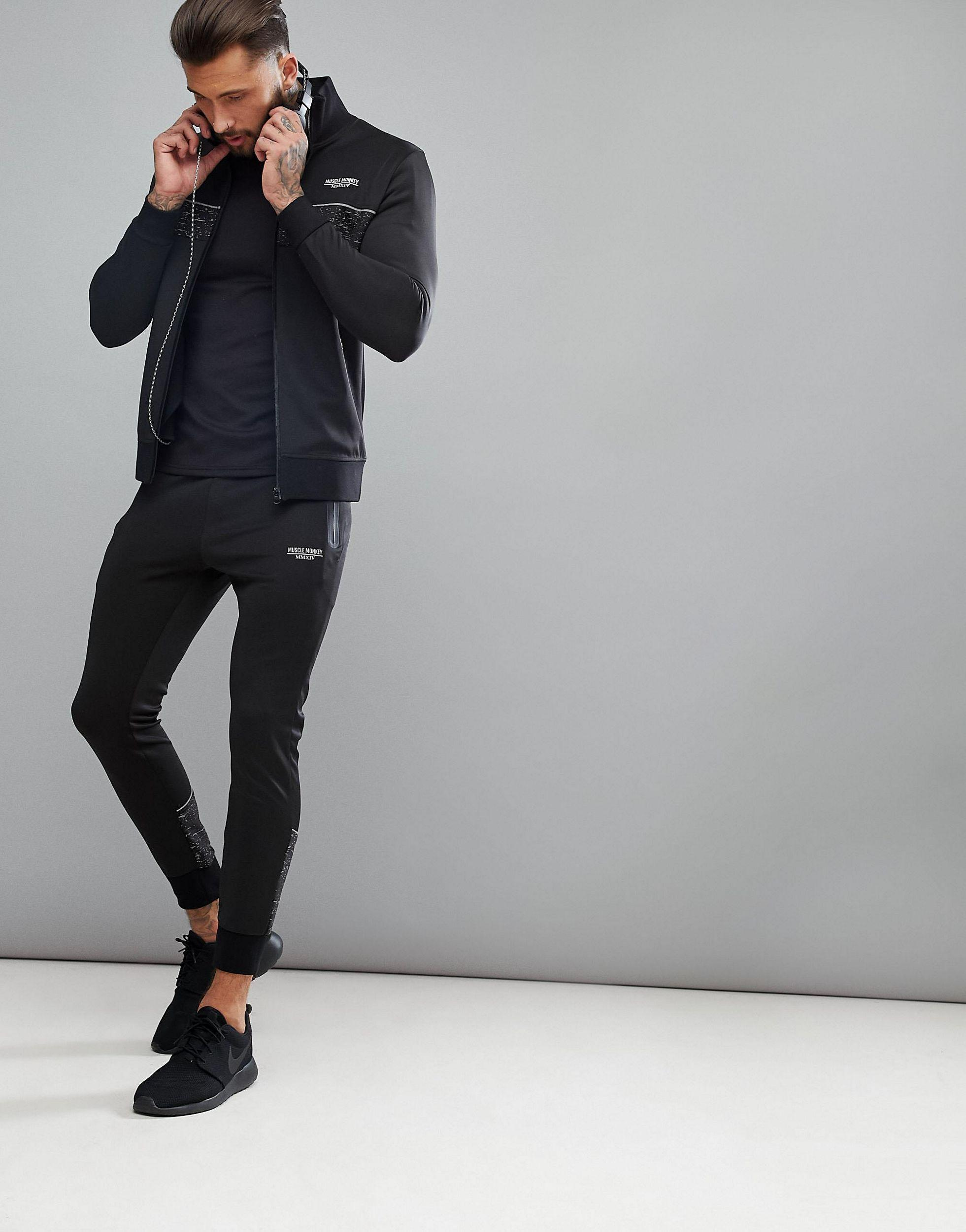 Muscle Monkey Track Jacket in Black for Men