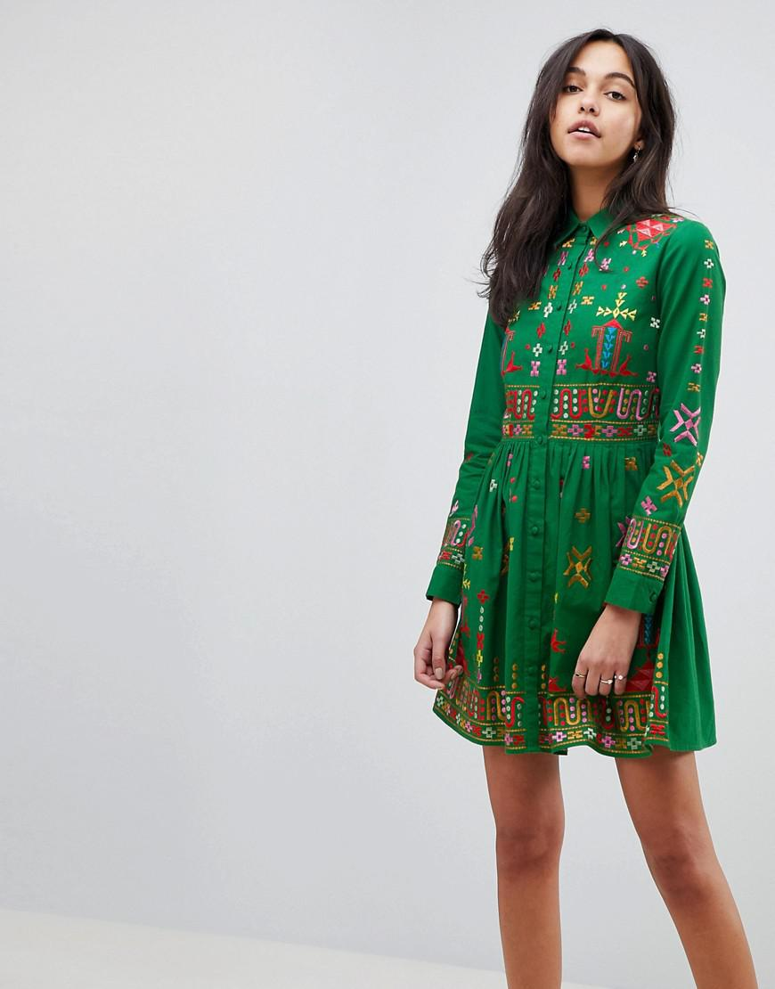 4328f9f883 Lyst - ASOS Asos Premium Aztec Mini Embroidered Skater Shirt Dress ...