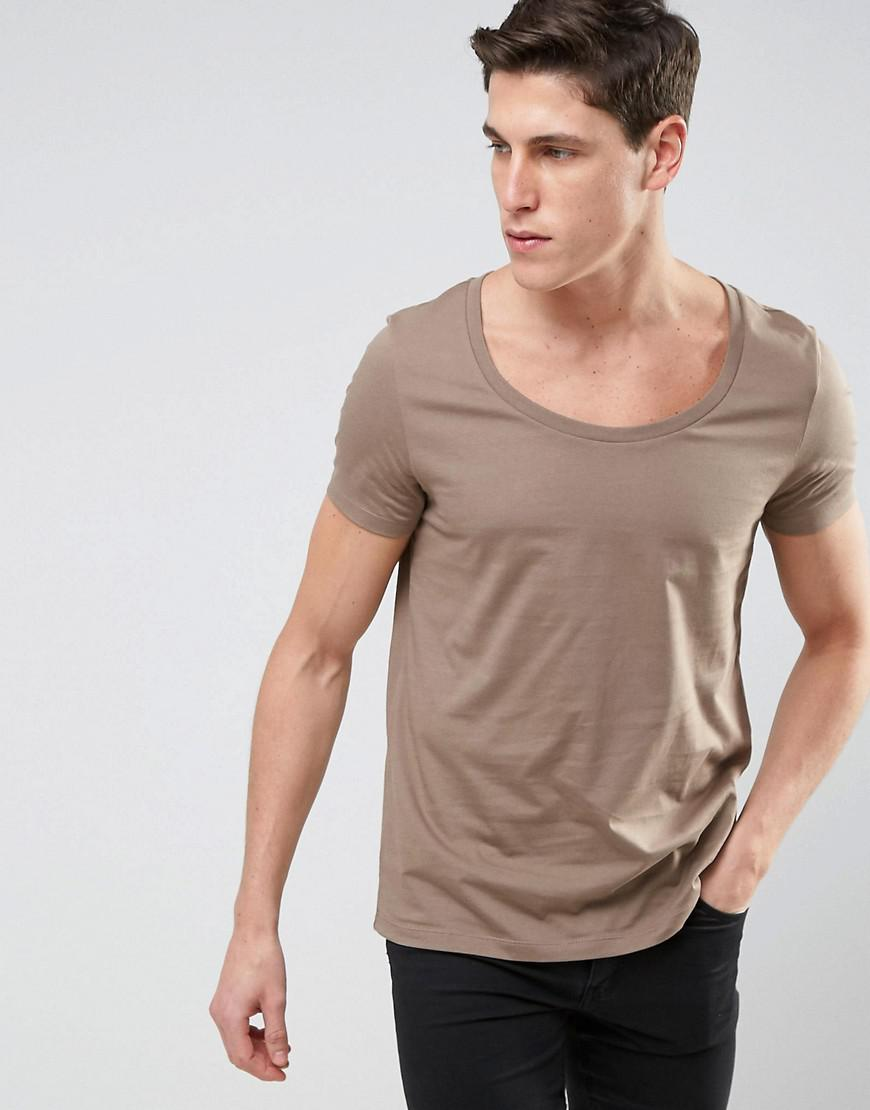 Lyst asos t shirt with deep scoop neck in beige in for Deep scoop neck t shirt
