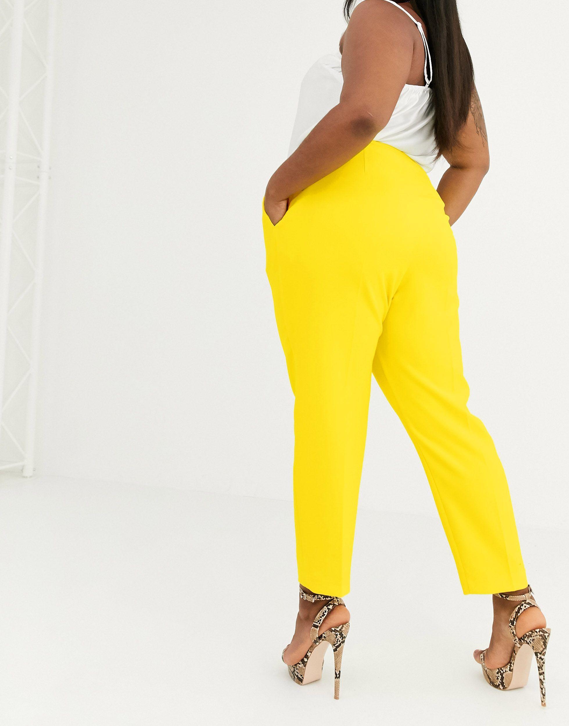 Pantalones ASOS de Tejido sintético de color Amarillo