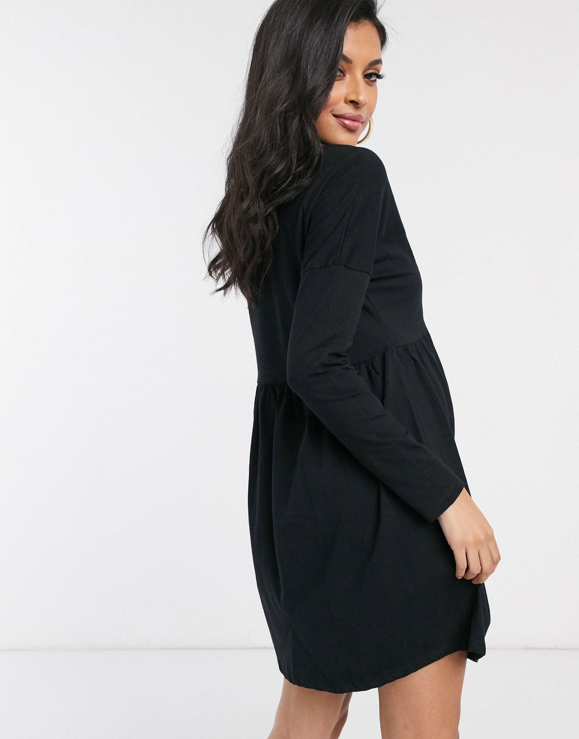 Vestido negro amplio con detalle ASOS de color Negro