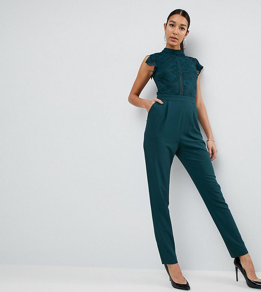 ac8a9e64517f ASOS Lace Top Jumpsuit in Green - Lyst