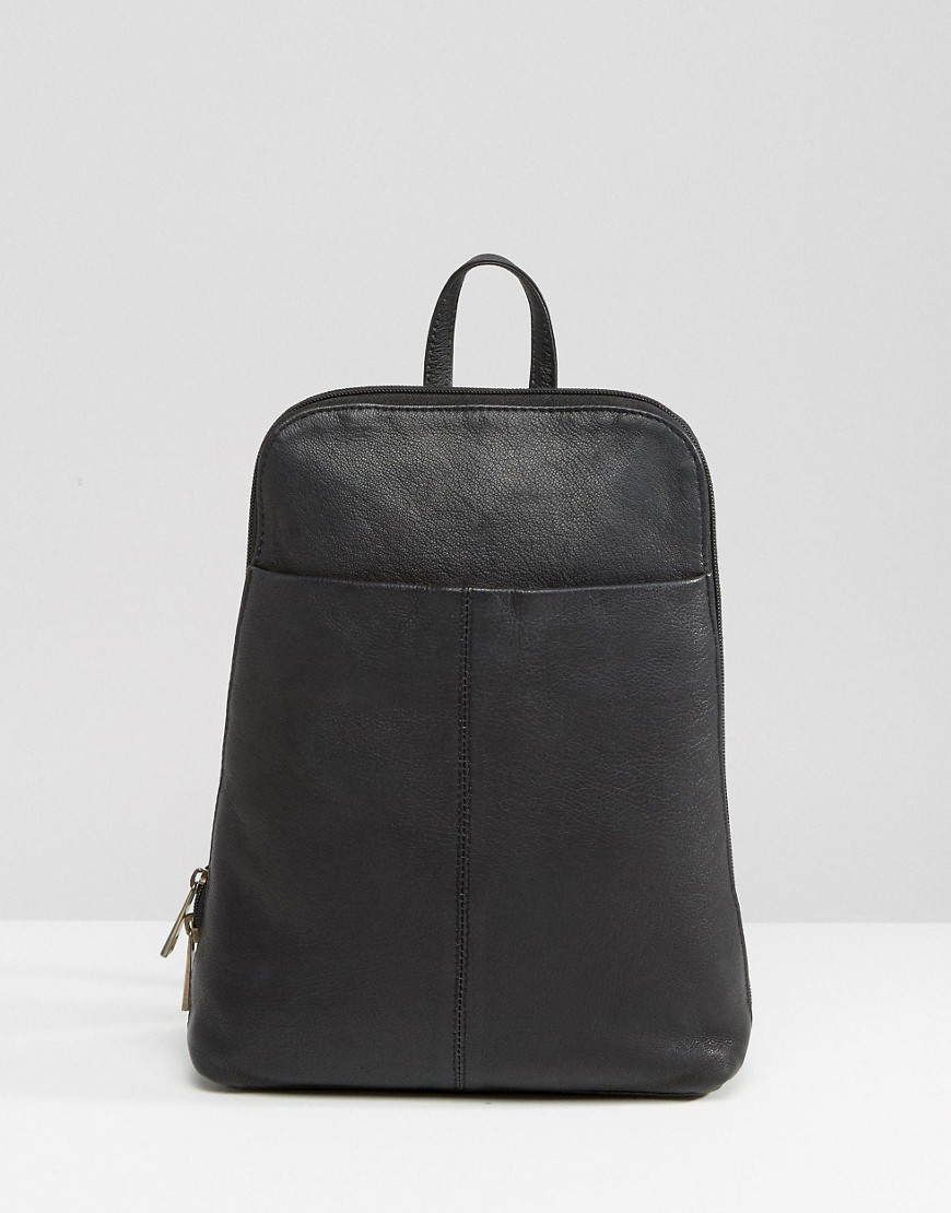 Asos Mini Leather Backpack in Black