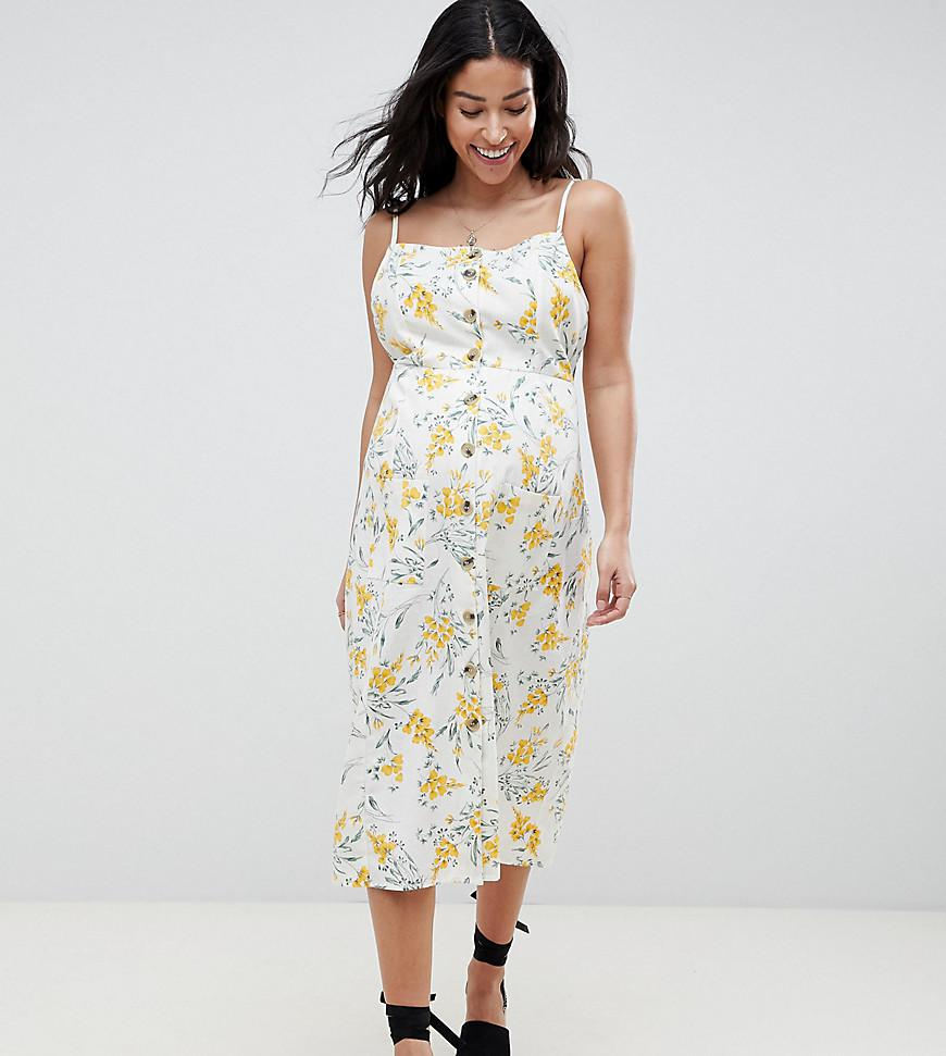 ac87785c568a ASOS. Women s Asos Design Maternity Button Through Midi Sundress In Floral  Print