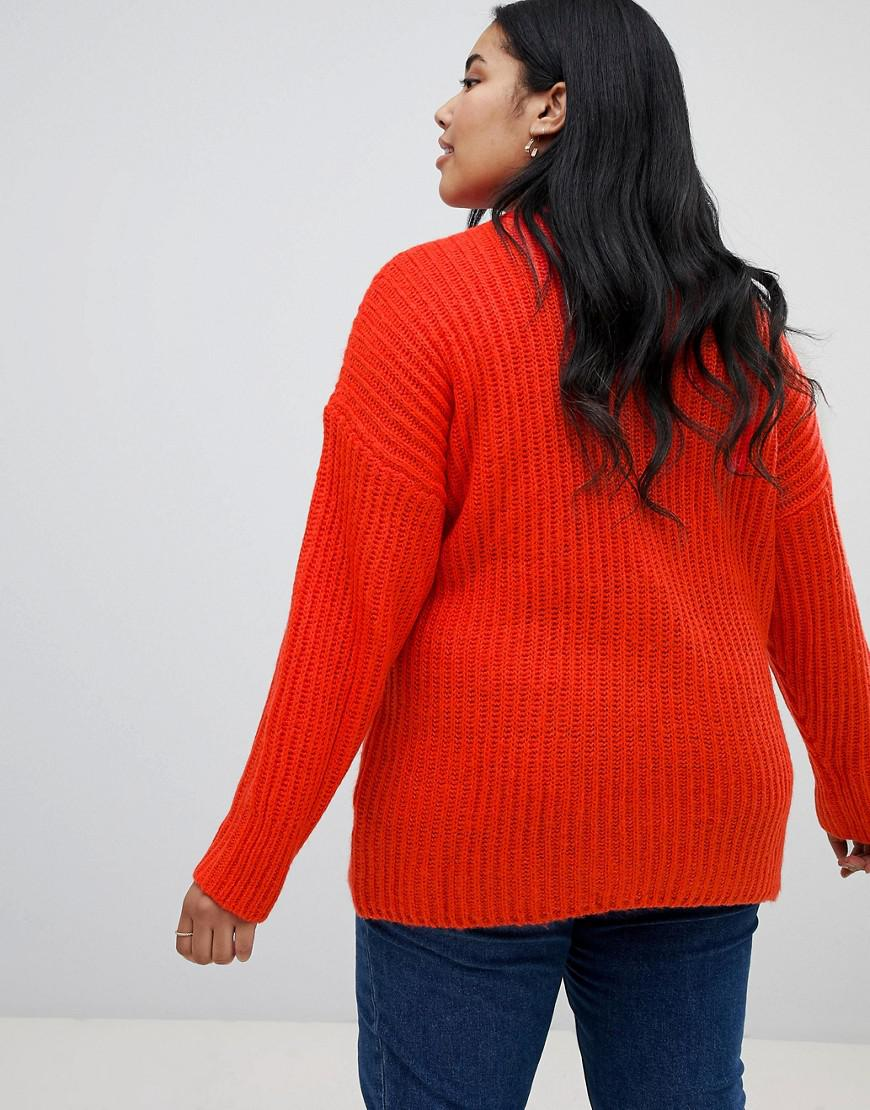 5ae04aebf4 Lyst - Asos Asos Design Curve Chunky Sweater In Rib With Crew Neck in Red