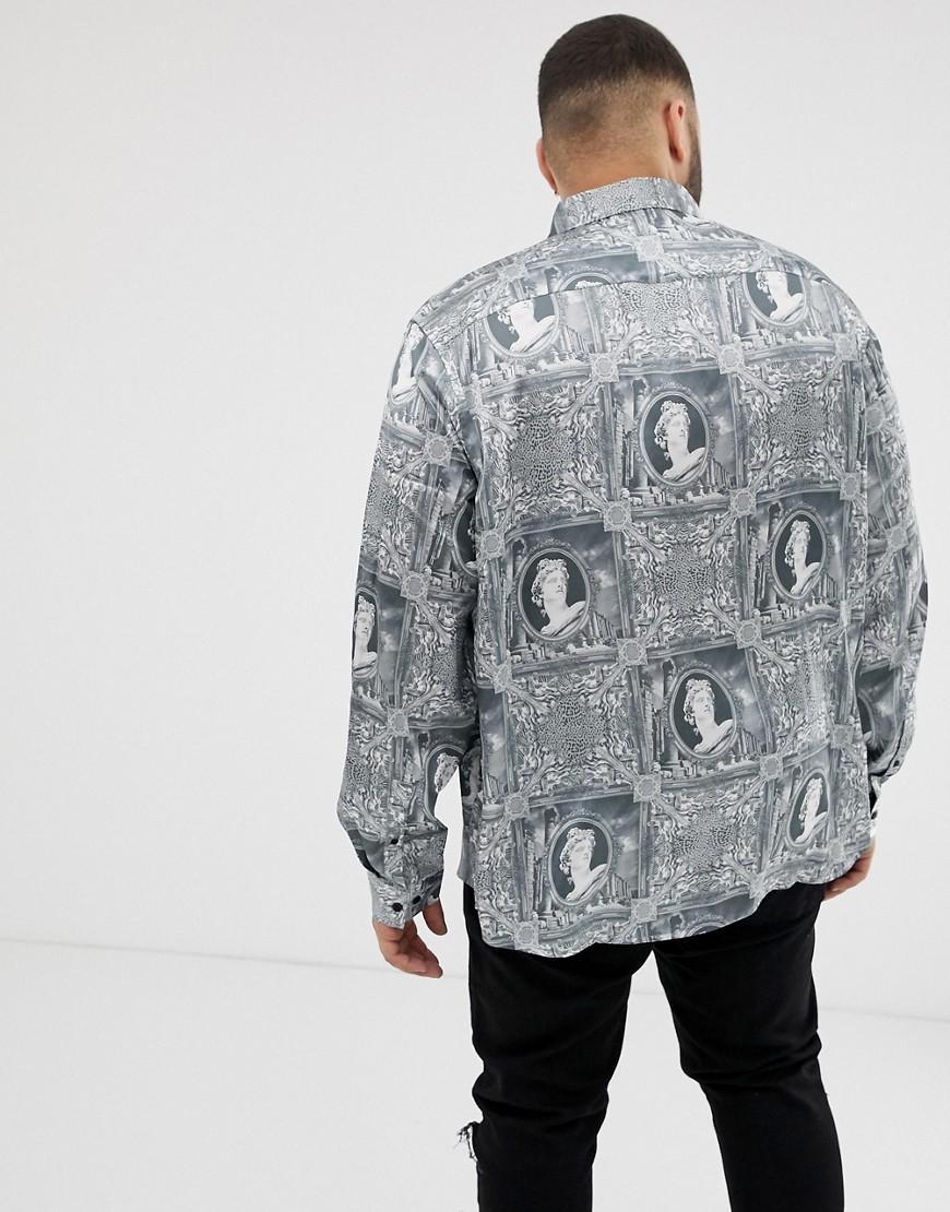 ASOS Synthetisch Regular-fit Overhemd Met Barokke Print In Grijs in het Zwart voor heren