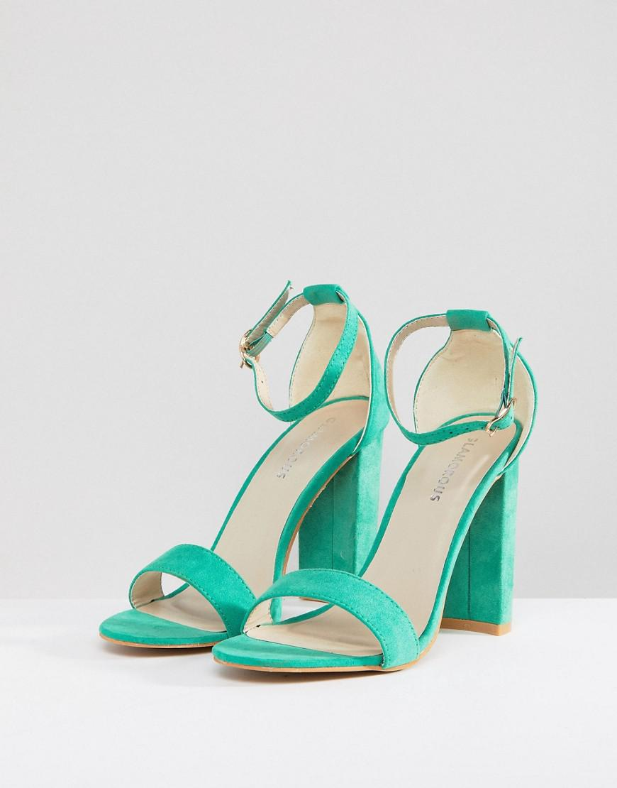 9895e64f0d9 Glamorous Green Barely There Block Heeled Sandals in Green - Lyst