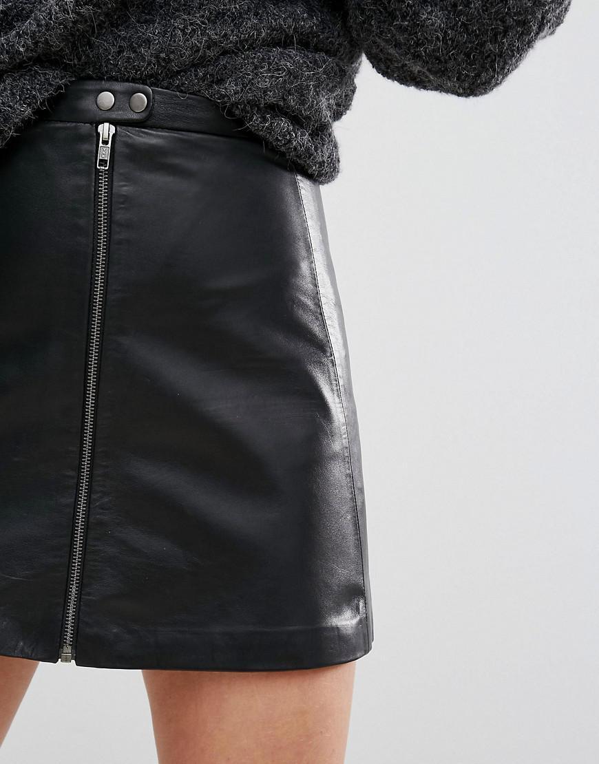 d10508ce8 Muubaa Kalu Zip Front Leather Skirt in Black - Lyst