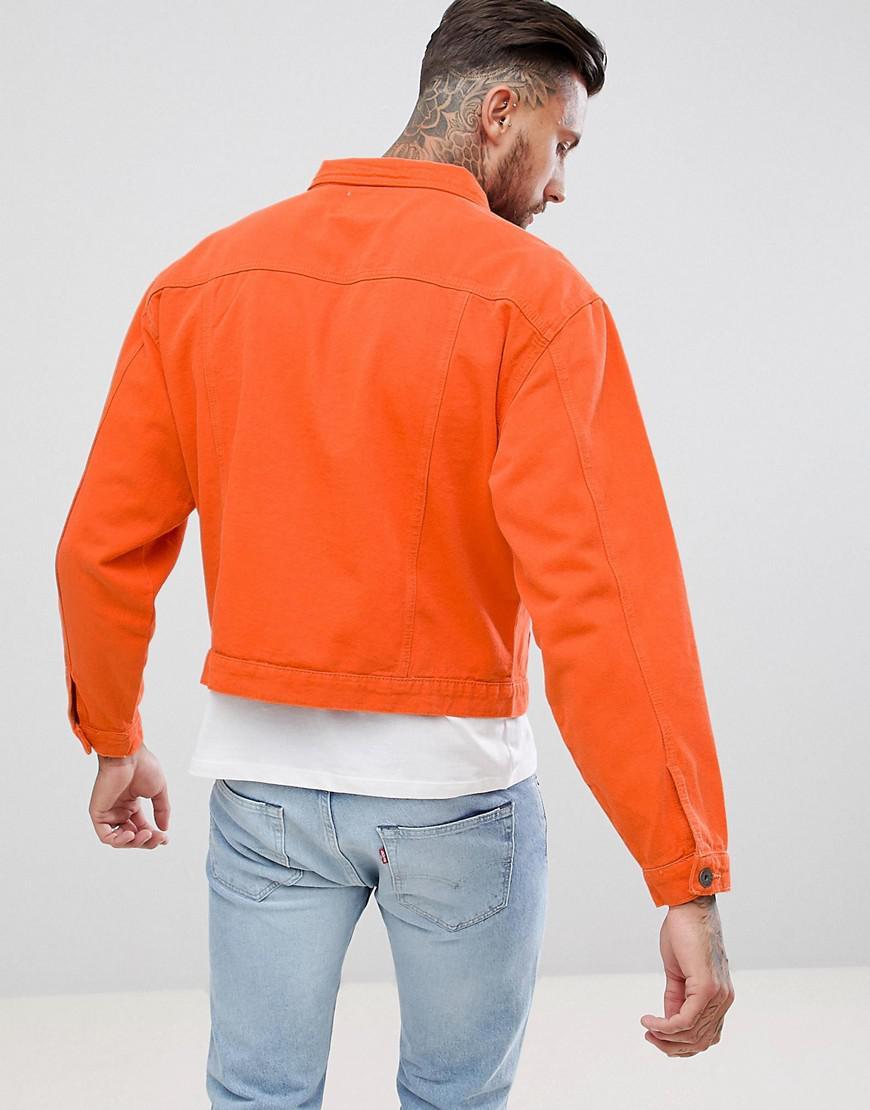 Liquor N Poker Oversized Denim Jacket In Burnt Orange for Men