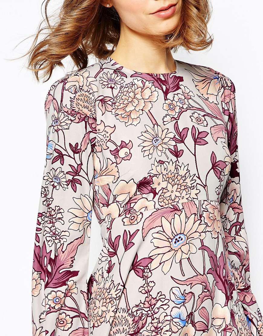 ASOS Synthetic Printed Column Midi Dress In Floral Print