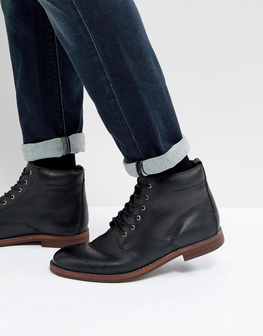 b568617eafaf Lyst - Dune Lace Up Boots Black Leather in Black for Men