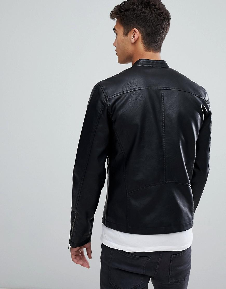 Solid Denim Faux Leather Jacket With Biker Collar in Black for Men