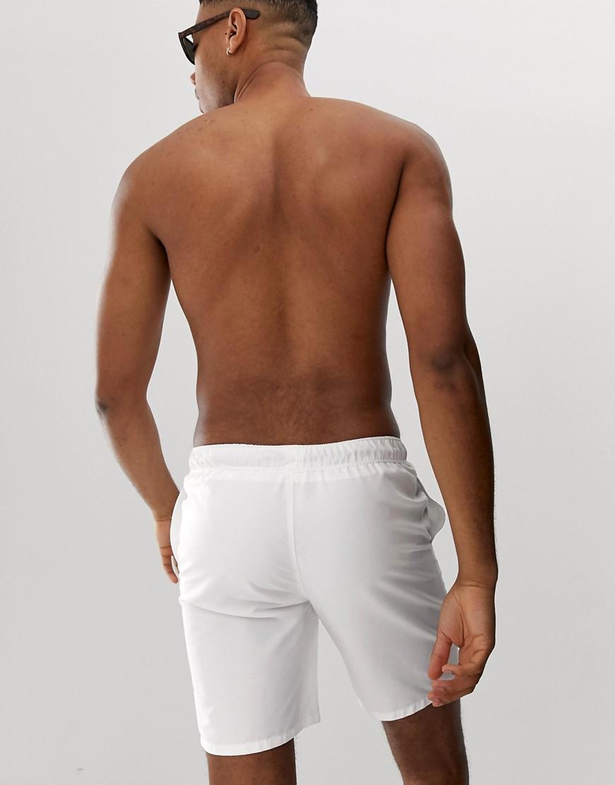 b0151f5c43 Lyst - ASOS Tall Swim Shorts In White Mid Length in White for Men