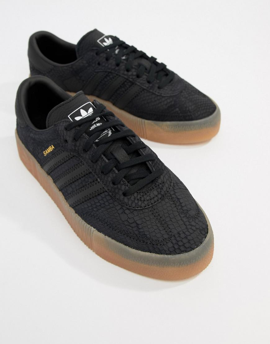 Lyst - adidas Originals Samba Rose Sneakers In Black With Gum Sole in Black 8598bbf8b