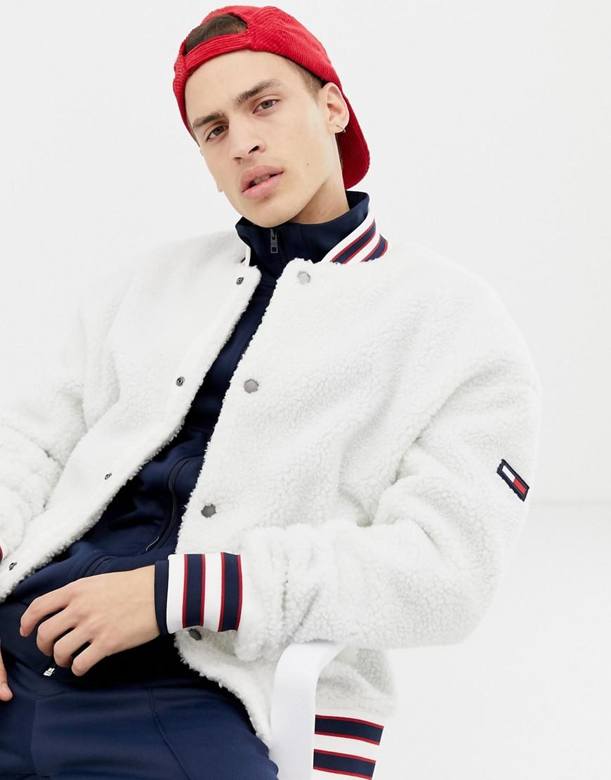 7d315e0ee41d38 Lyst - Tommy Hilfiger Teddy Bomber Jacket With Icon Stripe Trim In ...