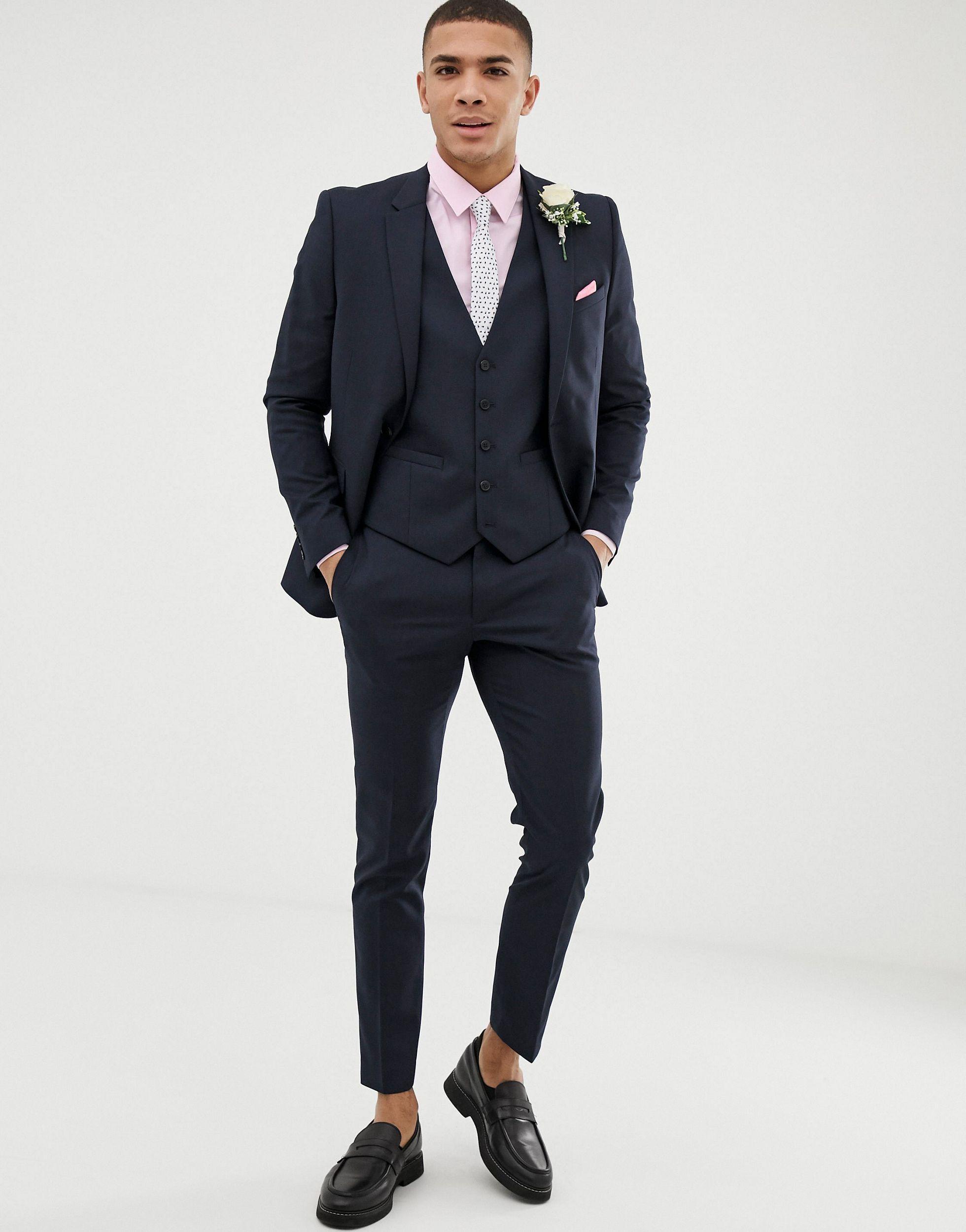 Burton Synthetisch Bruiloft - Superskinny Colbert in het Blauw voor heren