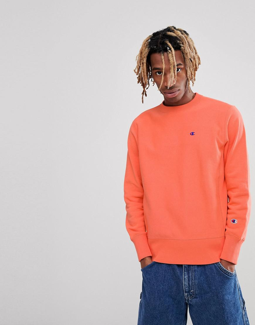 91b8e3948660 Champion Reverse Weave Sweatshirt With Small Logo In Coral in Pink ...