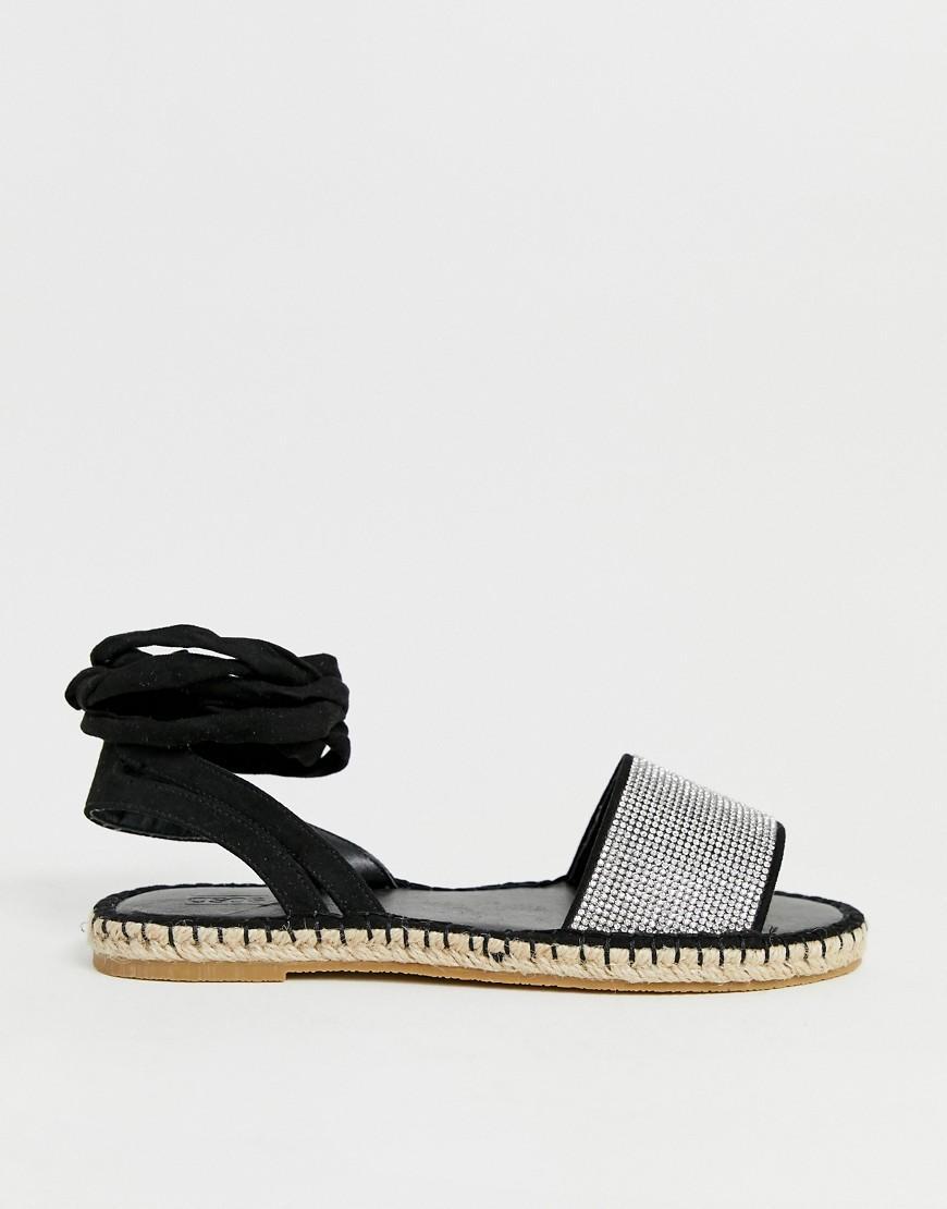 eb73c9c91ef59 Lyst - ASOS Jamila Diamante Tie Leg Espadrille Sandals in Black