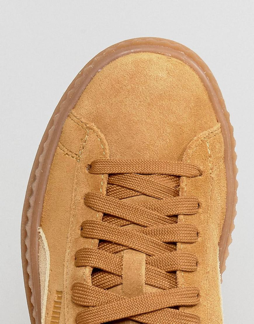 san francisco cfe1c cc906 PUMA Natural X Fenty Suede Creepers In Sand